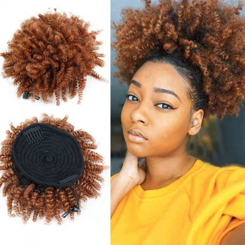 3B 3C Clip In Brazilian Human Hair Kinky Curly Ponytail Extensions Natural Color