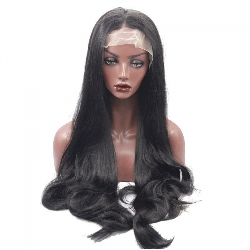 Eseewigs Natural Black Lace Front Wig Free Part Synthetic Long Wavy Lace Front Wig For Women Heat Resistant Fiber Hair 16~24inch