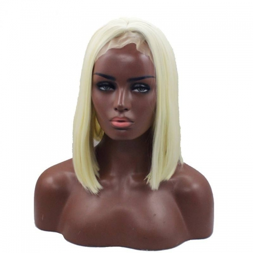 Eseewigs Blonde Lace Front Wig Free Part Synthetic Silk Short Straight Lace Front Wig For Women Heat Resistant Fiber Hair