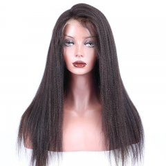 Italian Yaki Straight Glueless Full Lace Human Hair Wigs For Black Women Malaysian Hair Lace Frontal Wig