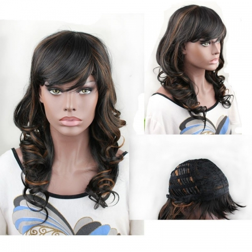 Synthetic Hair Wigs Wavy Wigs With Bangs Black/1B Hight 30# /1B Hight27# Color You Can Choose
