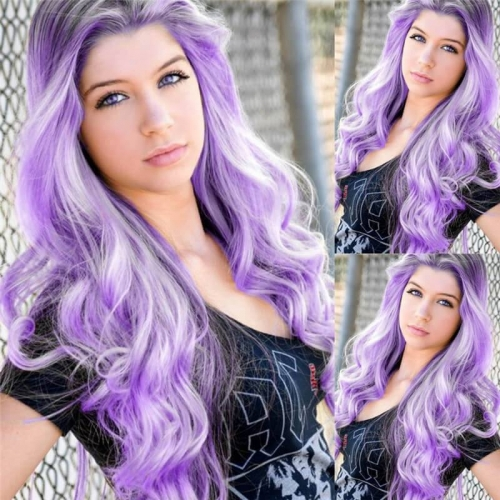 Ombre purple 2 Tones Black Roots Synthetic Lace Front Wig Heat Resistant Fiber Hair Half Hand Tied Long Wave