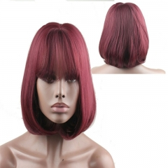 Short Straight Wine Red Bob Wig with Bang Brown Synthetic Wig for Women