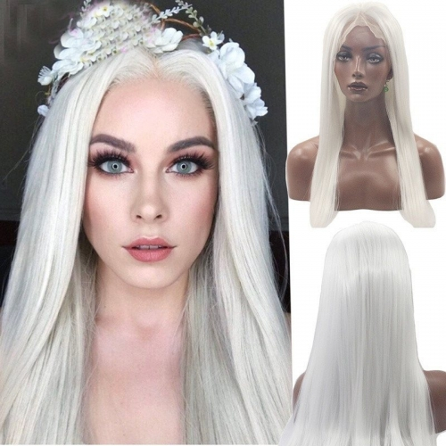 Eseewigs Sliver Lace Front Wig Free Part Synthetic Slik Long Natural Straight Lace Front Wig For Women Heat Resistant Fiber Hair 16~24inch