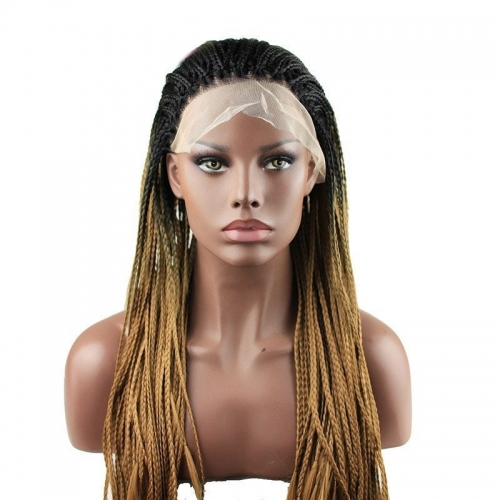 Eseewigs Black Root Ombre Brown Lace Front Braid Wig Free Part Synthetic Braids Lace Front Wig For Women Heat Resistant Fiber Hair 16~24inch