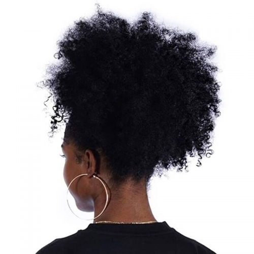 Natural Black Remy Hair Afro Kinky Curly Ponytail For Women Clip In Ponytails Human Hair