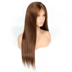 4# Lace Frontal Wig Straight Brown Color Brazilian Hair Full Lace Wigs 100 Human Hair