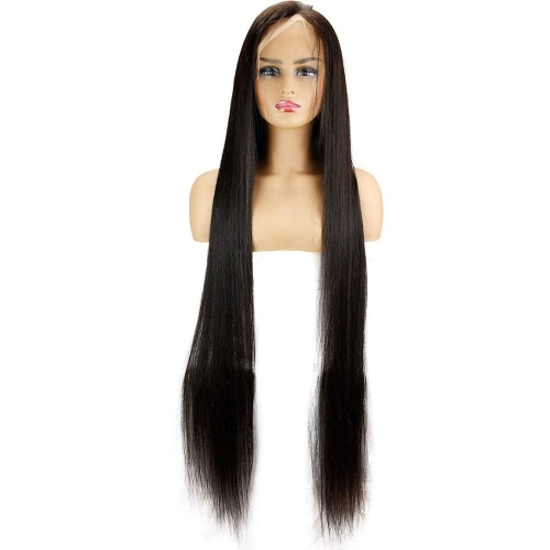 28-40inch Long Hair Brazilian Virgin Human Hair Full Lace Wigs with Baby Hair Silk Straight Natural Black Color for Black Women