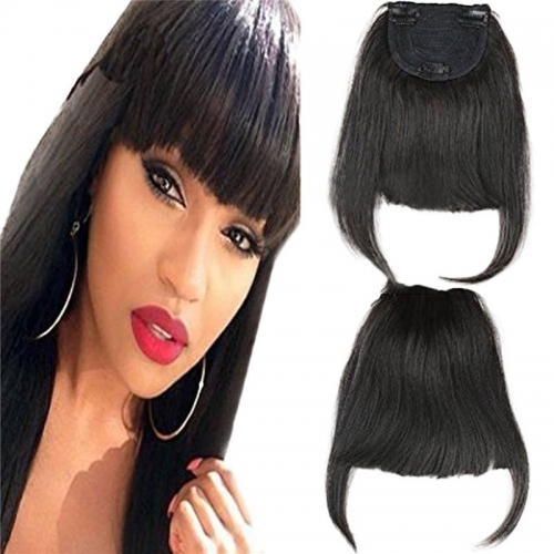 Brazilian Human Hair Clip-in Hair Bang Full Fringe Short Straight Hair Extension for women Natural Color 6-8inch