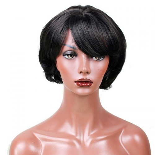 Eseewigs Natural Black Wig Free Part Synthetic Short BoB Wig For Women Heat Resistant Fiber Hair