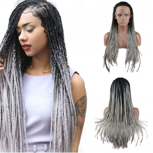 8A Synthetic Fiber Hair Braided Lace Front Wigs 1BT Gray Color for Woman