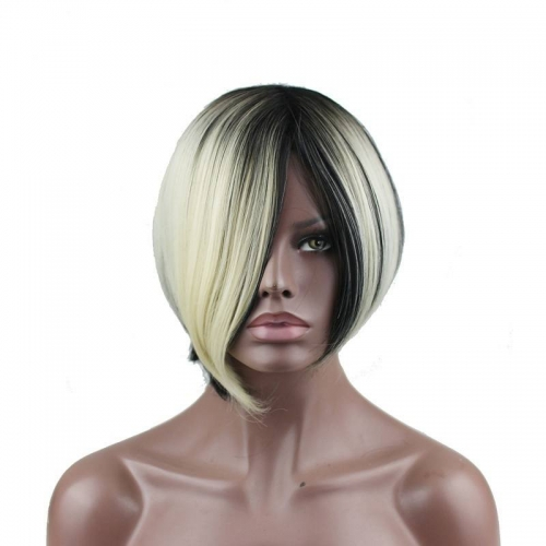 Eseewigs Black Mixed Goldenrod Wig Free Part Synthetic Slik Short Natural Straight Wig For Women Heat Resistant Fiber Hair 10~14inch