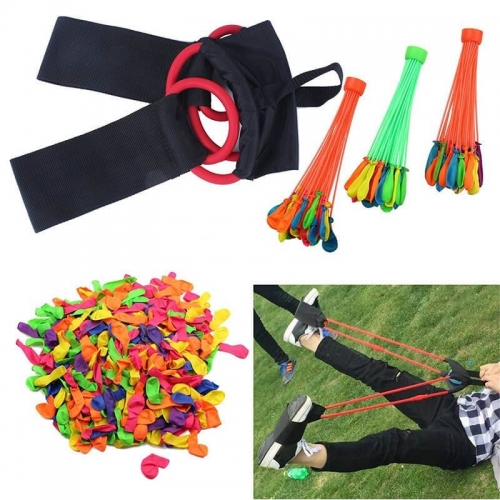 Water Balloon Launcher 1 or 3 Person Balloon Slingshot INCLUDED 500 Balloons 3 Bunch of Balloon with Quick Filling Nozzle