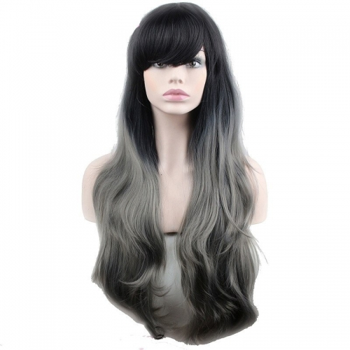 Eseewigs Black Root Ombre Dark Grey Wig Free Part Synthetic Long Natural Wave Wig For Women Heat Resistant Fiber Hair 16~24inch