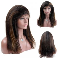 1B 30 Highlight Kinky Straight Lace Front and Full Lace Human Hair Wig Blonde Highlight Lace Wig