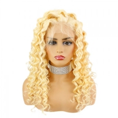 Blonde Lace Front Deep Wave Human Hair Wigs Curly 613# Full Lace Wig Virgin Hair with Baby Hair