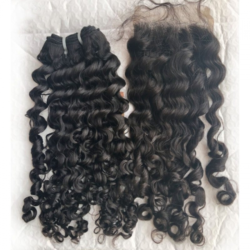 "Raw Virgin Hair Extensions Full Cuticle Aligned Raw Burmese Curly Hair Virgin Hair Bundles Natural Color 8""-30"""