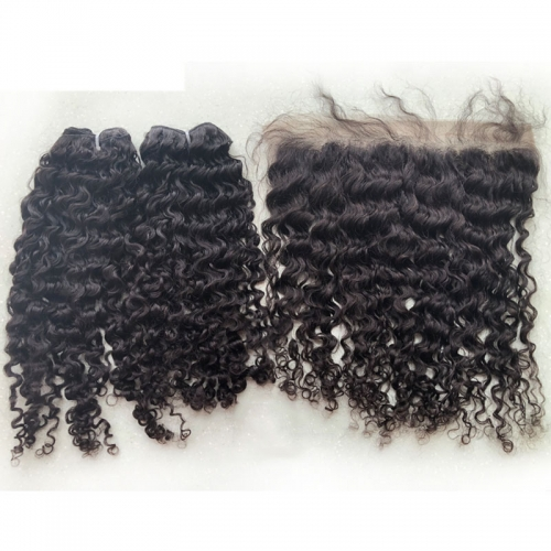 Human Hair Curly Extensions Grade 12A Virgin Raw Cambodian Hair Vendor Weave Bundles Natural Color Can Be Dyed