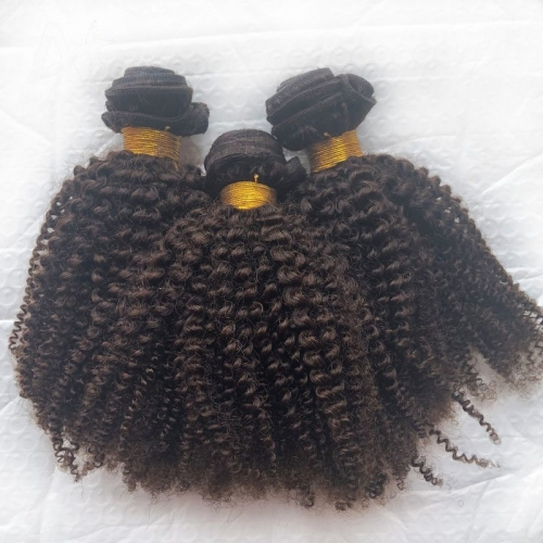"Sale 4A 4B Virgin Human Afro Kinky Hair Weave Bundles Top Grade 8""-40"" Mongolian Kinky Curly Brown Hair Extension"