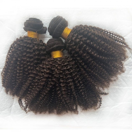 "New Arrival Brown Hair Extension Mongolian Virgin Cuticle Aligned Human Mongolian Kinky Curly Hair Weave Bundles 8""-40"""