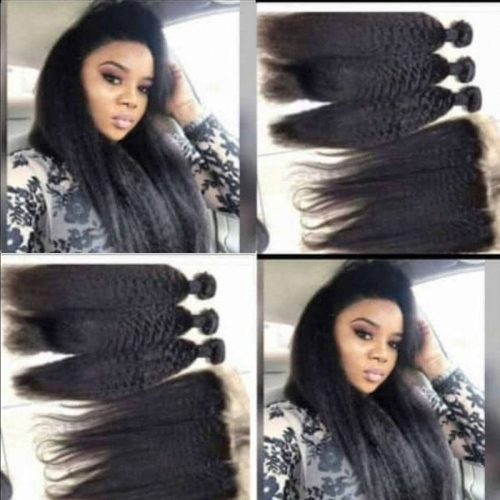 "Sale Mongolian Virgin Kinky Straight Hair Fuller 100% Unprocessed Natural Color Human Kinky Straight Hair Bundles 8""-26"""