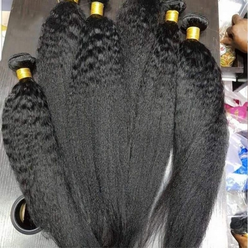 "Grade 12A Virgin Mongolian Kinky Straight Human Hair With Lace Frontal Closure With Baby Hair Natural Color 8""-40"""
