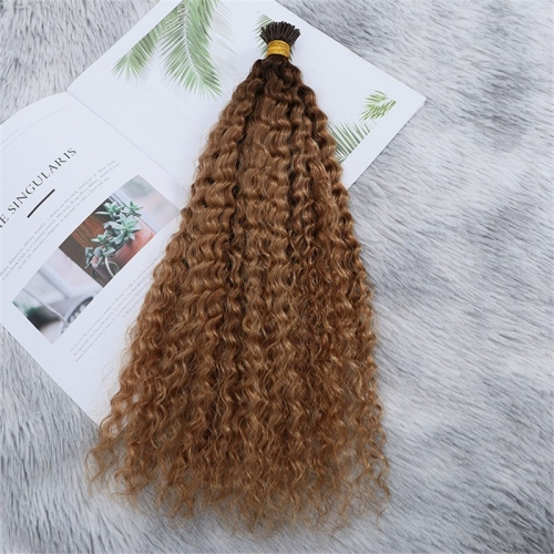 High Quality Double Drawn Kinky Curly Ombre Color Human Hair I Tips Hair Extensions