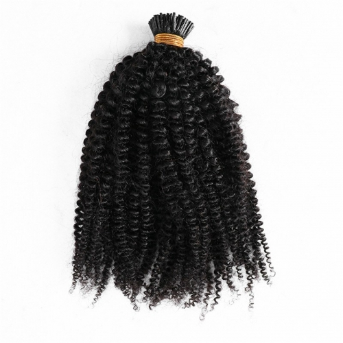 Wholesale Afro Curly Real Raw Remy Cuticle Pre Bonded Human I Tip Indian Hair Extensions