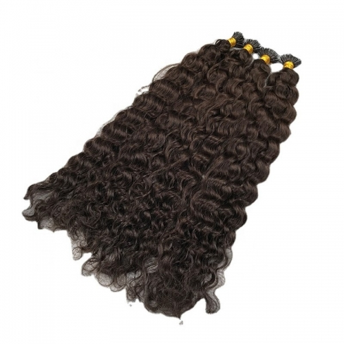 2021 Selling Indian 100% Human Virgin Remy Hair Double Drawn Deep Wave I-Tip Hair Extensions