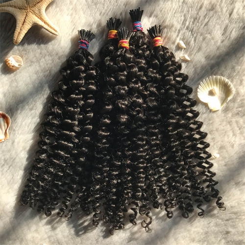Factory Price Kinky Curly Water Wave 18Inch Pre Bonded I Tip Hair Extensions Wholesale India