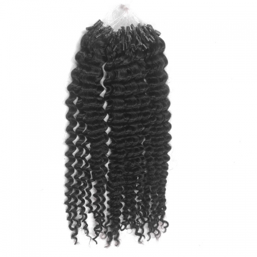 Wholesale 100% Remy Raw Virgin Cuticle Aligned Kinky Curly Natural Human Hair Extension Micro Rings