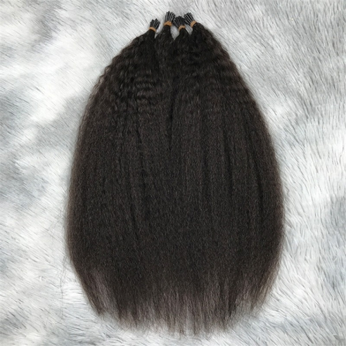 Wholesale Factory Real Raw Remy Kinky Straight India Hair Extension Human Hair I Tip