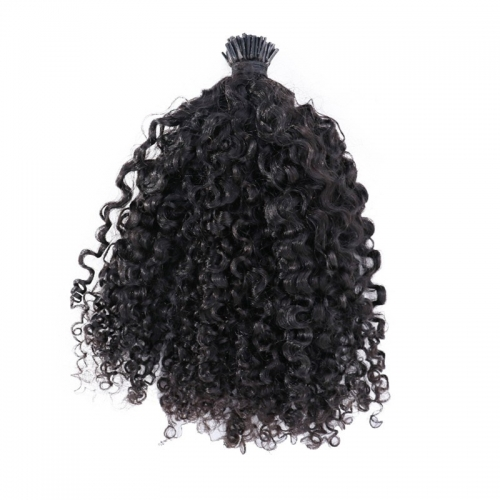 Wholesale Factory Price Thick End Kinky Curly Water Wave India Human I Tip Raw Human Hair