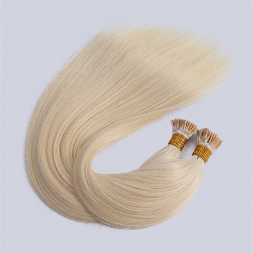 Cuticle Aligned Indian Raw Virgin Human Hair Straight I Tip Hair Extensions For White Woman