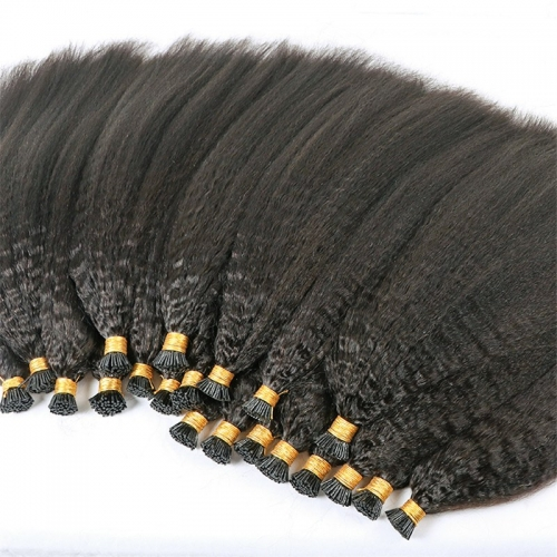 Indian Human Hair No Shedding No Tangle Kinky Straight I Tip Human Hair Extensions