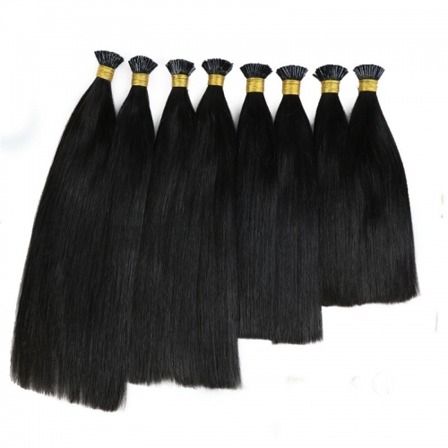 Most Popular Raw Remy Cuticle Aligned No Tangle Straight Human I Tip Hair Extension
