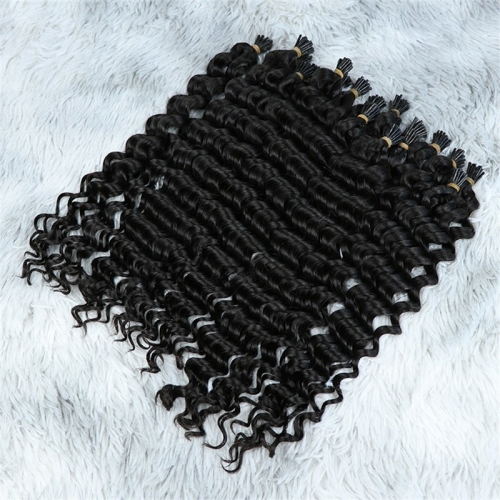 Wholesale India Natural Color Deep Wave Double Drawn Raw Virgin Hair I-Tip Hair Extensions
