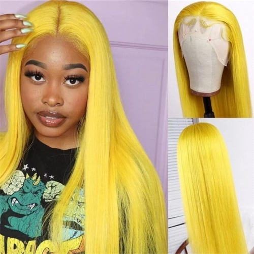 13x4 Pre Plucked Yellow Lace Human Hair Wigs With Baby Hair Pre plucked 613 Blonde Yellow Ombre Lace Wig 150% Density