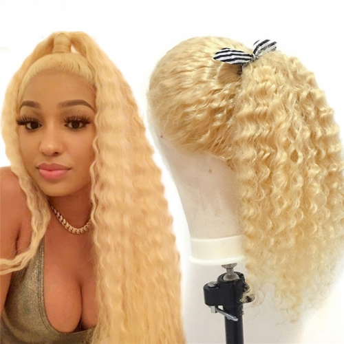 613 Blonde Lace Front Wig Brazilian Deep Wave Pre Plucked With Baby Hair Transparent Lace Front Human Hair Wigs Remy Lace Wig