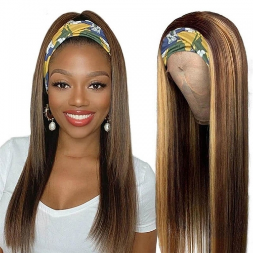 Ombre Honey Blonde Highlight #4/27 Color straight hair Headband Wig Human Hair Wigs