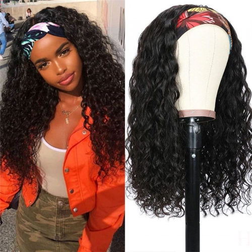 Headband Wig Water Wave Human Hair Wig 150% density Hair Band No Glue Real Hairline