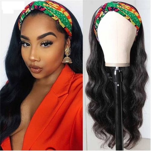 Headband Human Hair Wig Glueless Body Wave Machine Made Non-Lace Wigs head bands