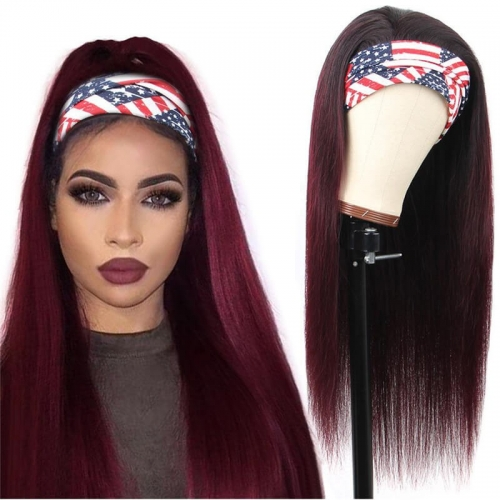 Ombre Straight Headband None Lace Human Hair Wigs Dark Burgundy T 1B/99J