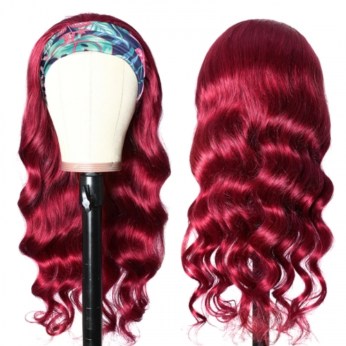 BURG Body Wave Headband Human Hair Wigs Full Machine Made Wig None Lace
