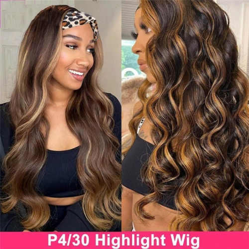 Ombre Honey Blonde Highlight #4/30 Color Body Wave Headband Wig Human Hair Wigs