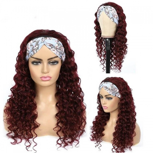 99J RedWine Brazilian Straight Headband Wigs Straight Human Hair Wigs None Lace Full Machine Made Wigs 150% Density