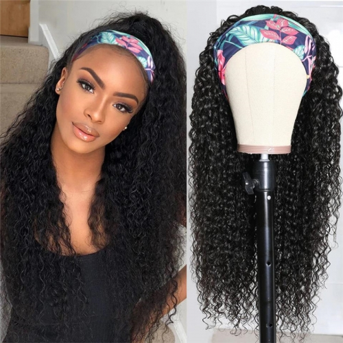 Loose Wave Human Hair Headband Wigs Machine Made Wig Natural Color None Lace