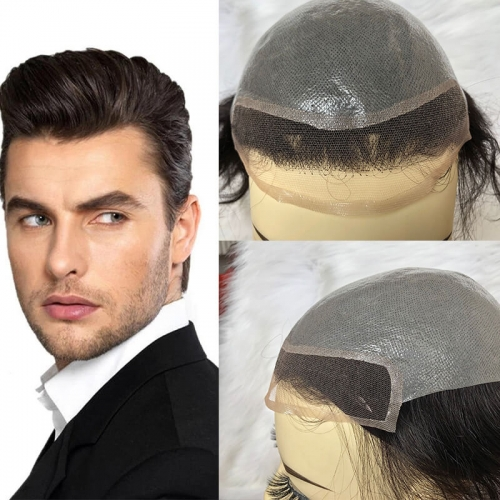 Men'S Toupee Hairpieces Replacement System For Men PU Base With Frontal Swiss Lace Net 100% European Remy Human Hair 10x8 inch