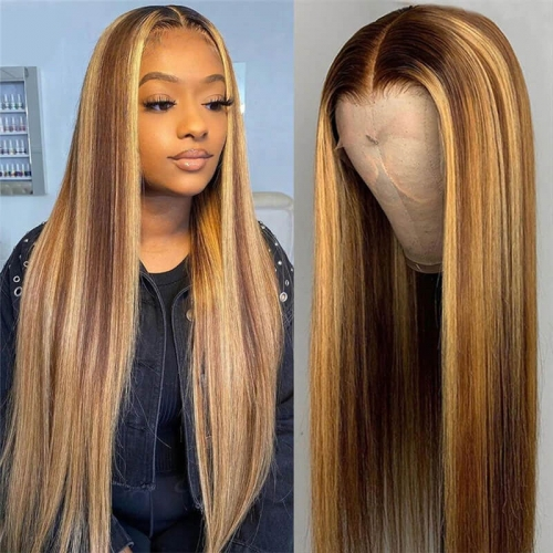 Highlight Wig Human Hair P4/27 13x4 Lace Frontal Wigs 180 Density T Part Brazilian Straight Colored Lace Front Human Hair Wigs