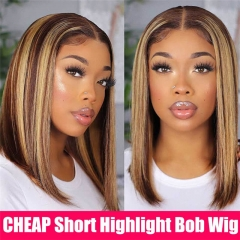 Highlight Bob Wig Honey Blonde 13x4 Lace Frontal Wigs T Part Remy Brazilian Straight Ombre Lace Front Human Hair Wigs